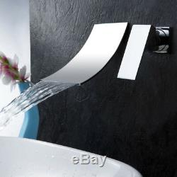 Wall Mount Bathroom Sink Faucet Waterfall Spout Tub Faucet Chrome Mixer Tap