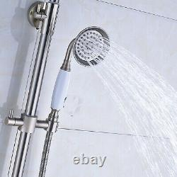 Wall Mounted 8 inch Round Rainfall Shower Faucet Set &Hand Sprayer Tub Tap