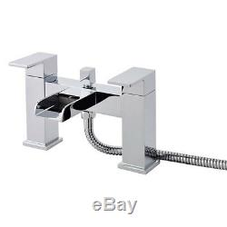 Waterfall Bath Shower Mixer Tap With Chrome Square 3 Way Rigid Riser Shower Kit
